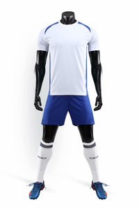 Full Football Kit - White with Dark Blue Trim and Shorts.
