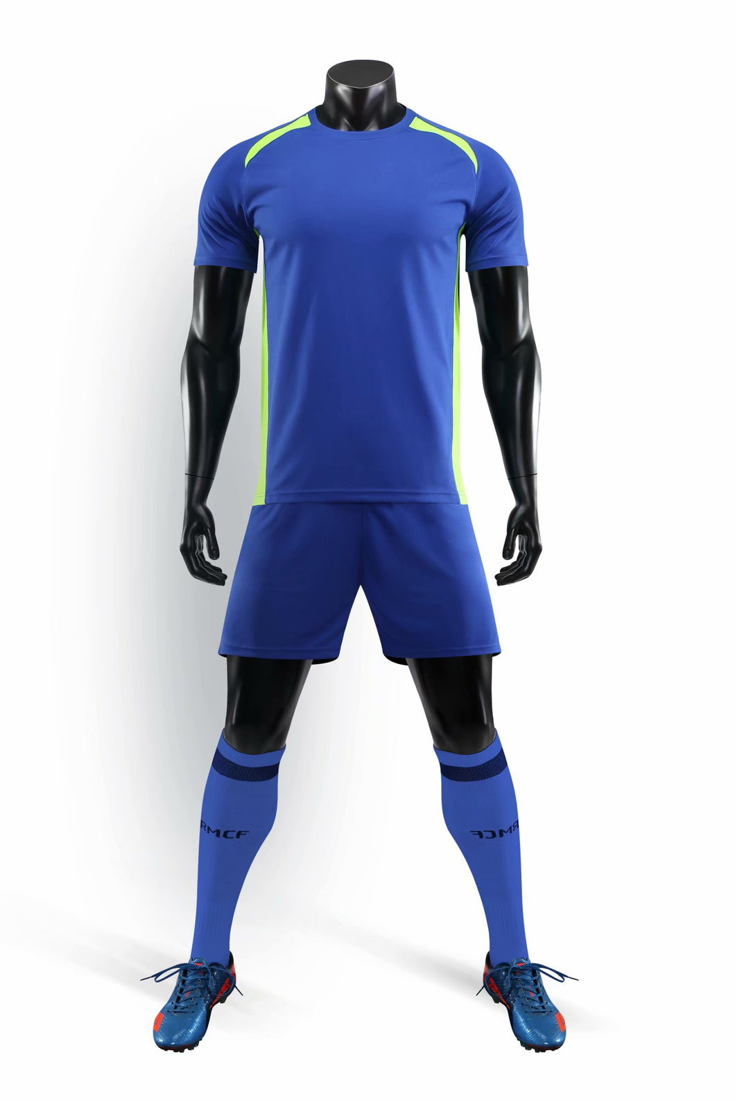 Full Football Kit - Blue with Neon Yellow Trim.