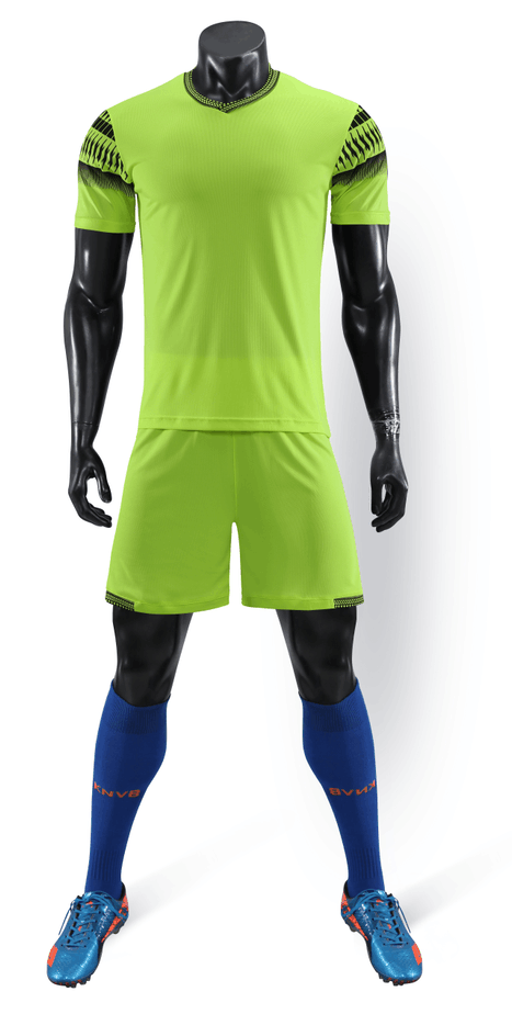 Full Football Kit - Neon Green with Black Shoulder Detail.