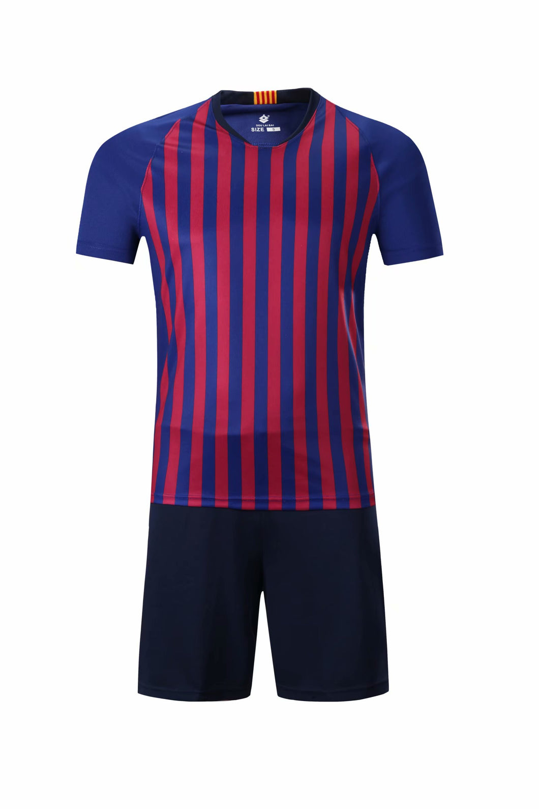 Full Football Kit - Red and Blue stripes with Black shorts.