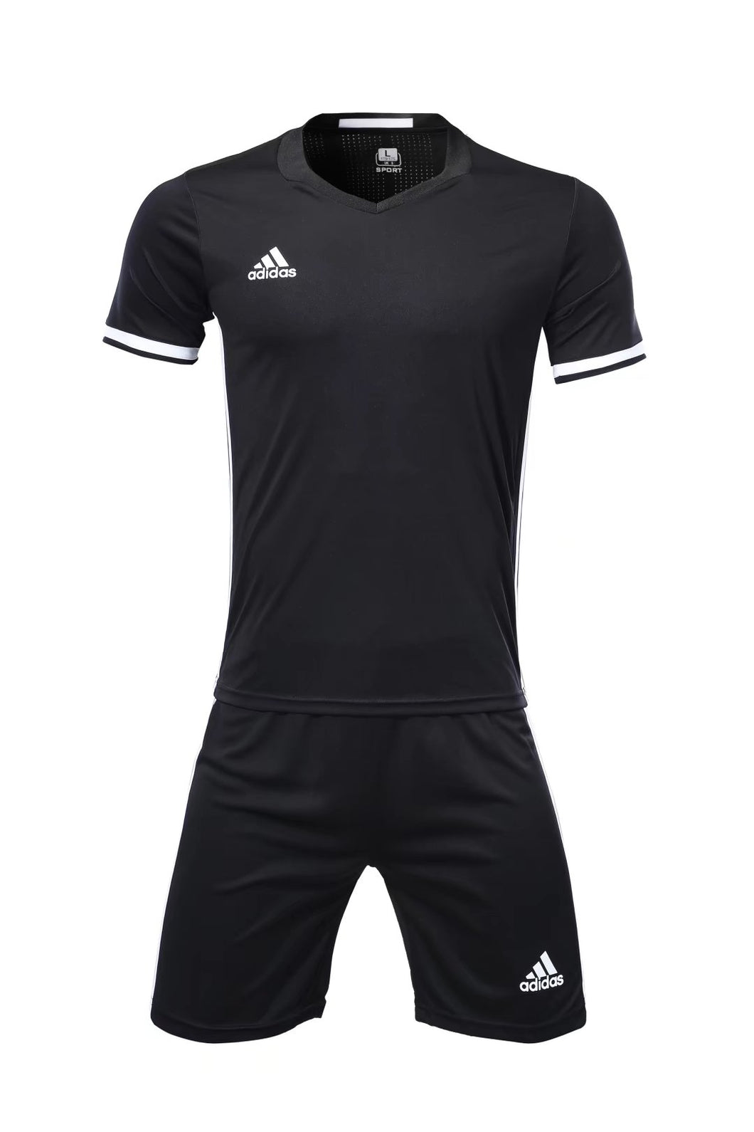 Adidas Full Football Kit Adult Sizes only - Black with 3 stripes.