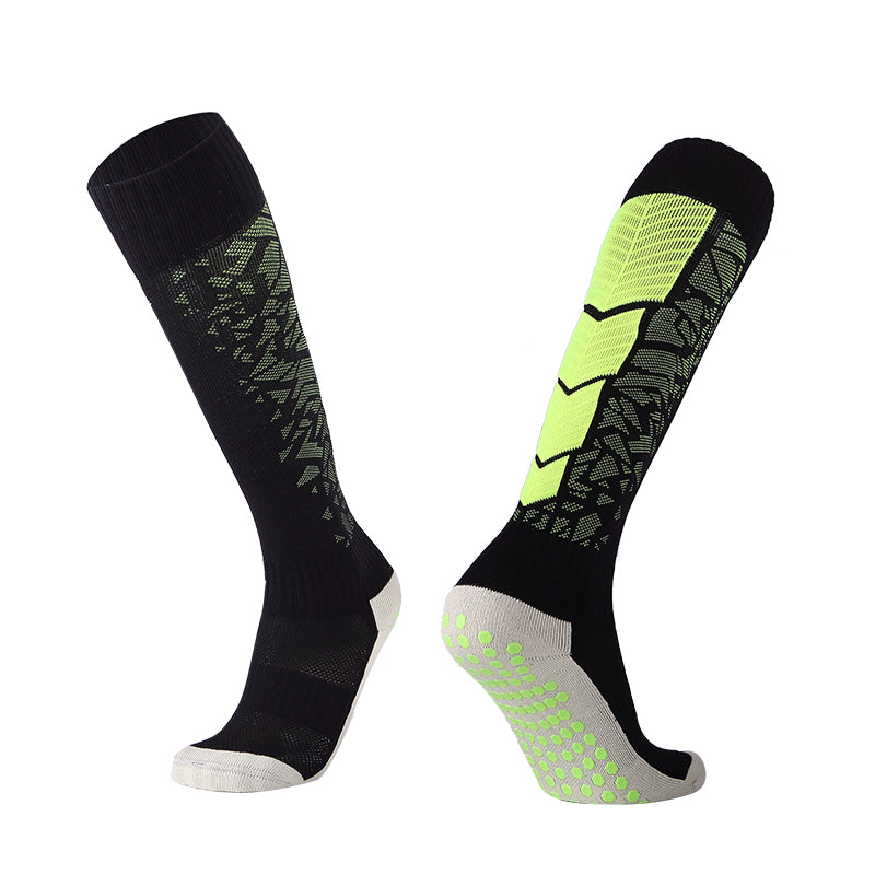 Socks Adult - Black with Green back leg design