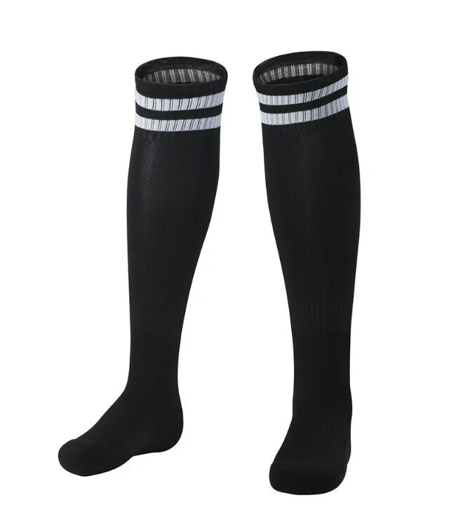 Socks Junior and Adult - Black with two white lines