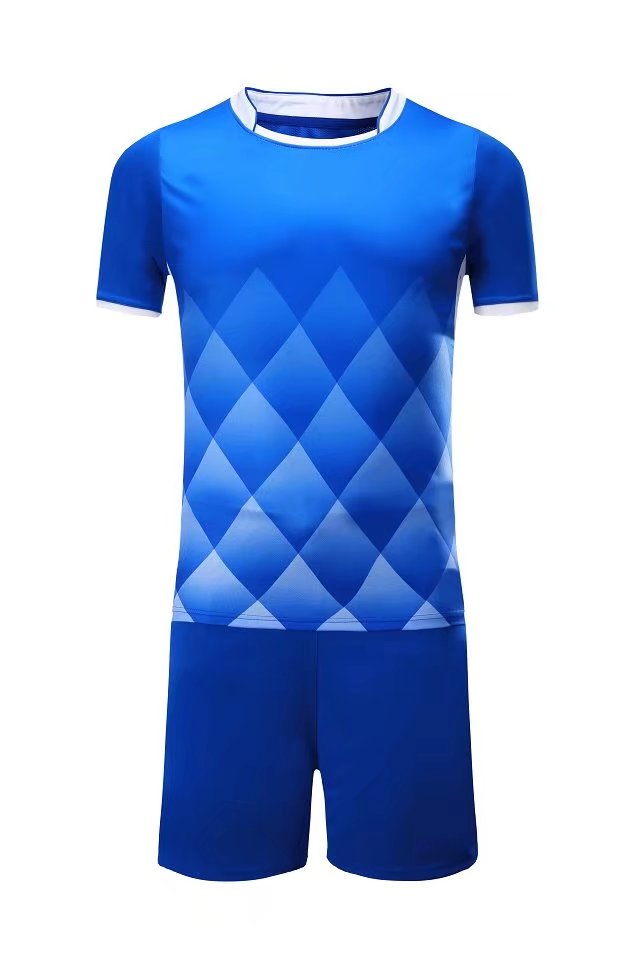 Full Football Kit - Blue with White Diamond Design and Trim.