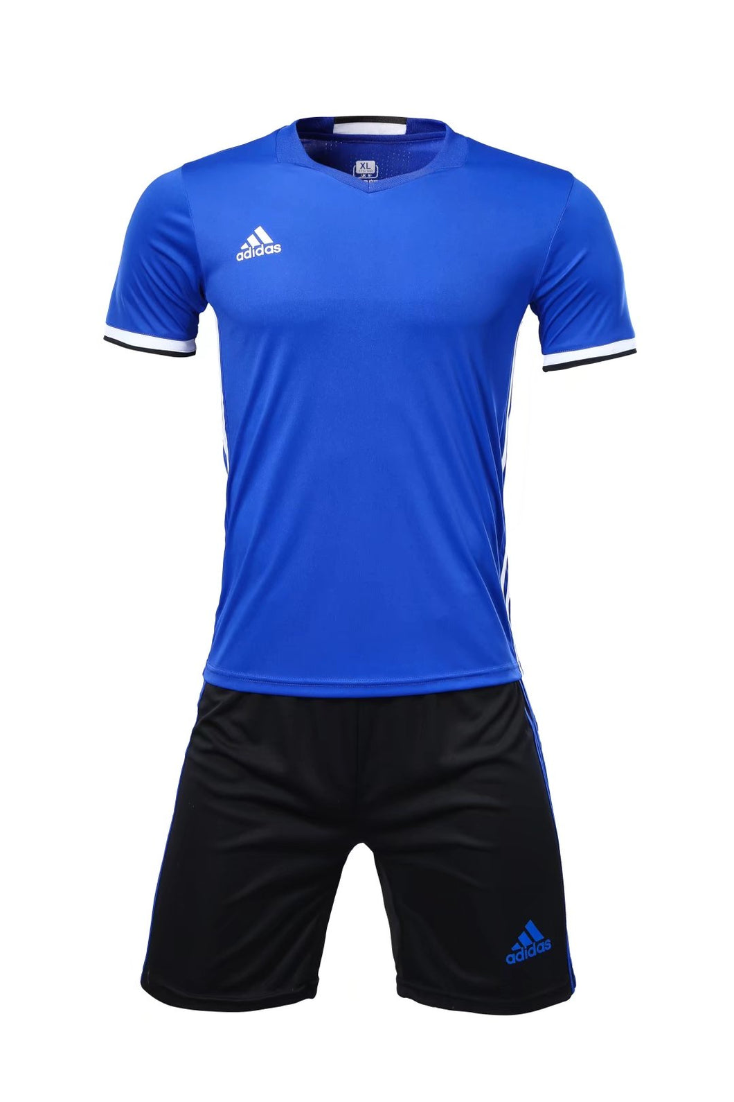 Adidas Full Football Kit Adult Sizes only - Blue with 3 Stripes and Black shorts