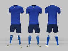 Load image into Gallery viewer, Junior Football Kit - Blue and White trim