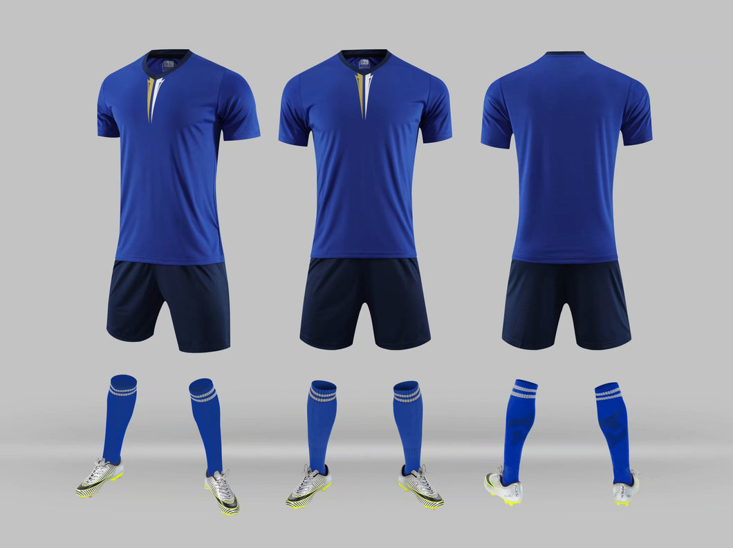 Junior Football Kit - Blue and White trim