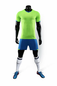 Full Football Kit - Neon Green with Blue Shorts.