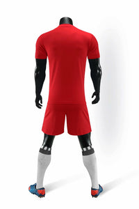 Full Football Kit - Red Checkered Stripe Design and Black Shorts.