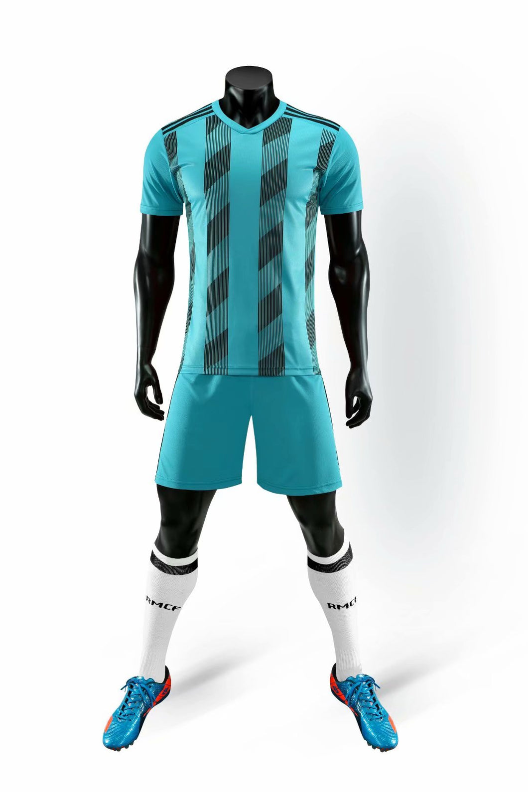 Full Football Kit - Light Blue Checkered Stripe Design