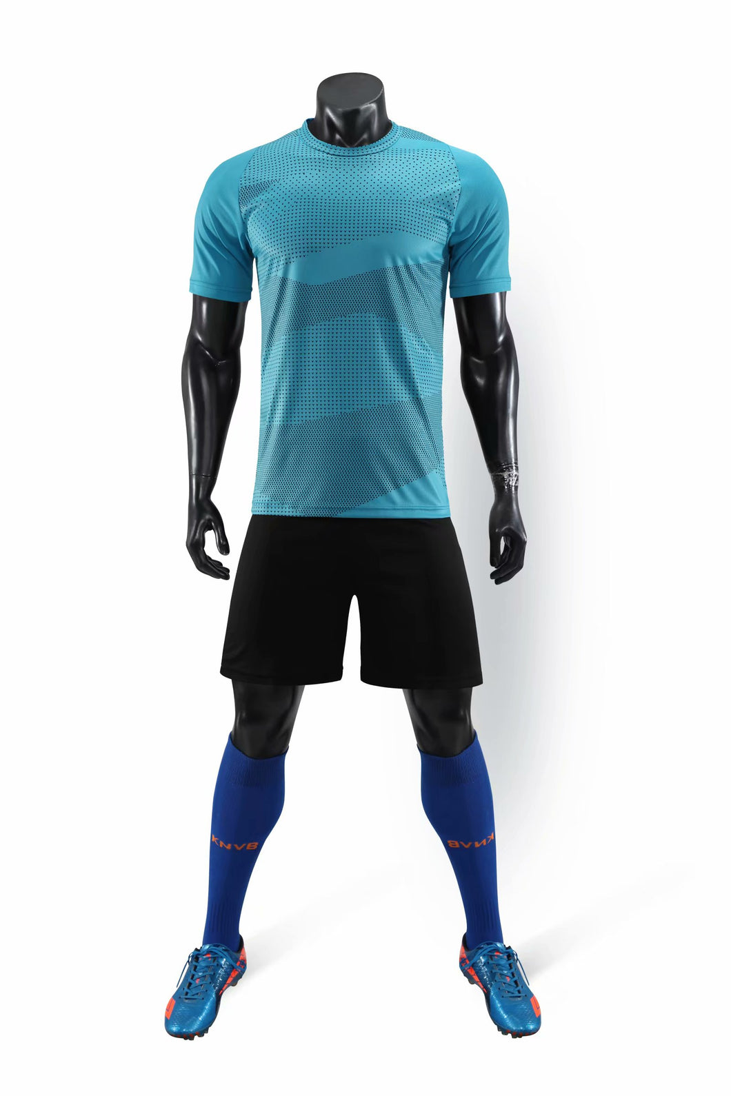 Full Football Kit - Sky Blue with Wave Design and Black Shorts.