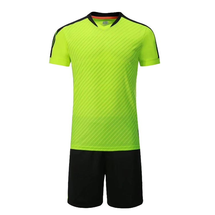 Full Football Kit - Neon Green with Black Shorts.
