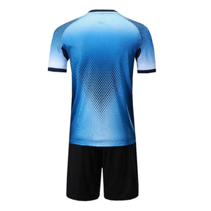 Full Football Kit - Mixed Blue with Black Shorts.