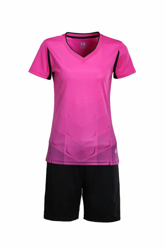 Full Football Kit - Pink With Black Shorts.