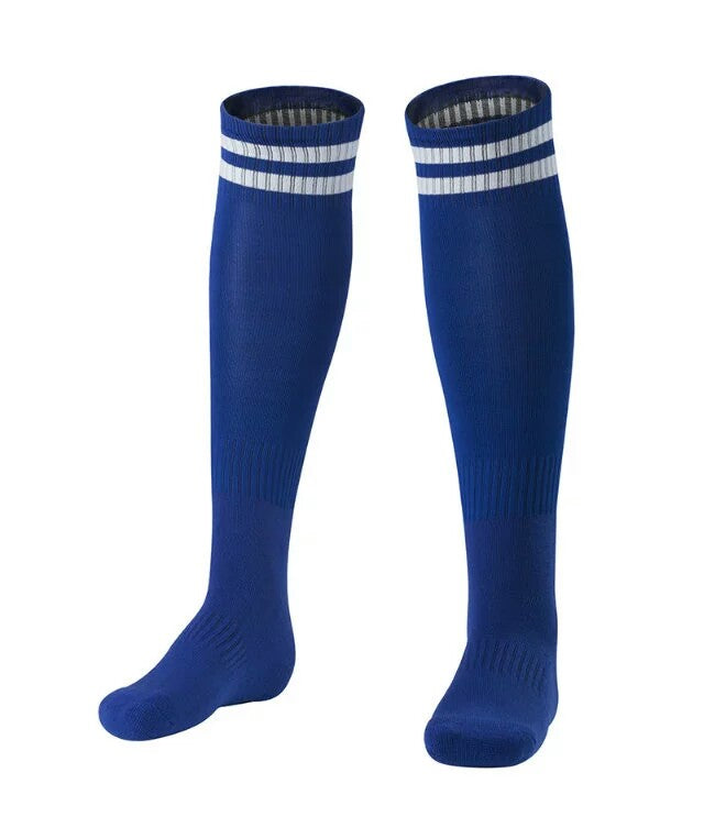 Socks Junior and Adult - Dark Blue with two White lines