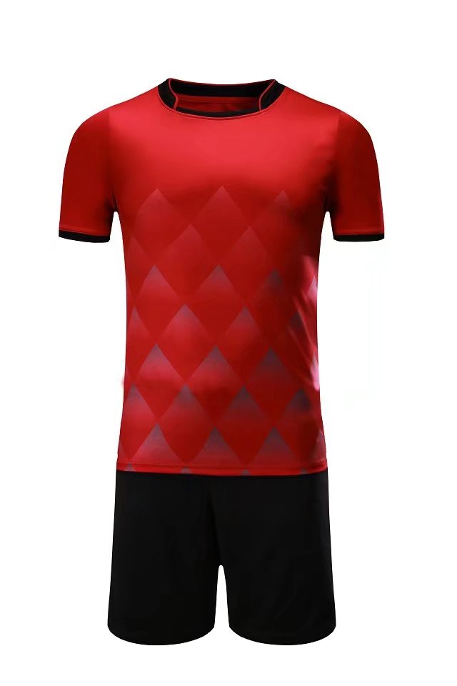 Full Football Kit - Red with Diamond Design and Black Shorts.