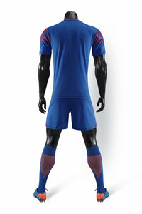 Full Football Kit - Royal Blue with Deep Red Shoulder Detail.