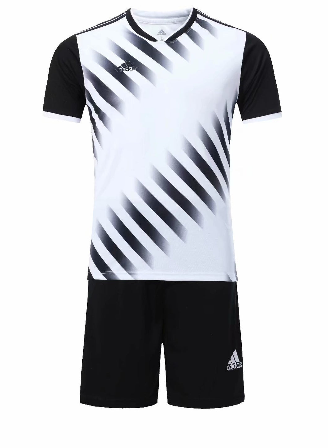 Adidas Full Football Kit Adult Sizes only - Black and White with Faded stripe