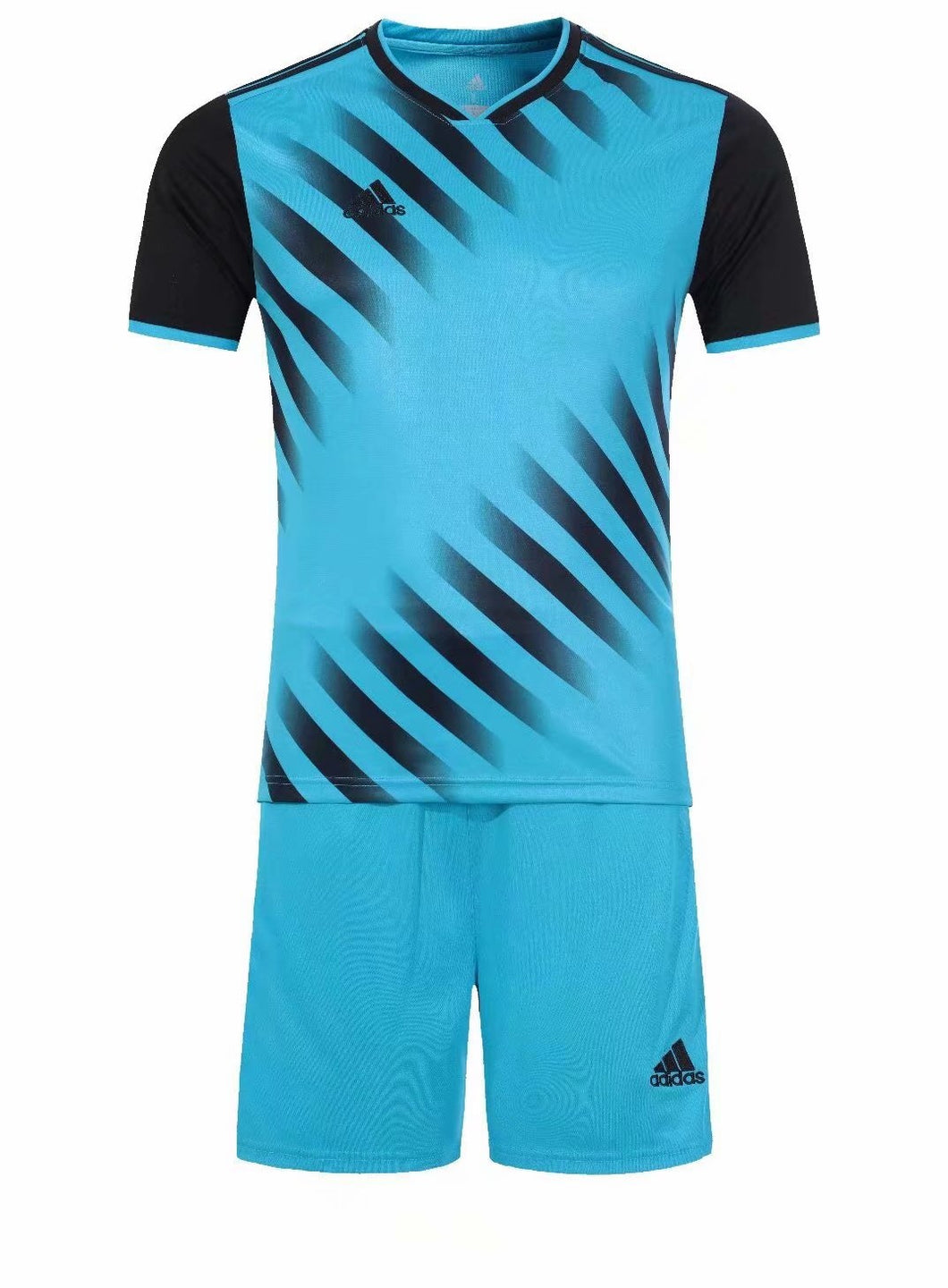 Adidas Full Football Kit Adult Sizes only - Light Blue and Black with Faded stripe