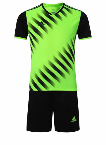 Adidas Full Football Kit Adult Sizes only - Green and Black with Faded Stripe