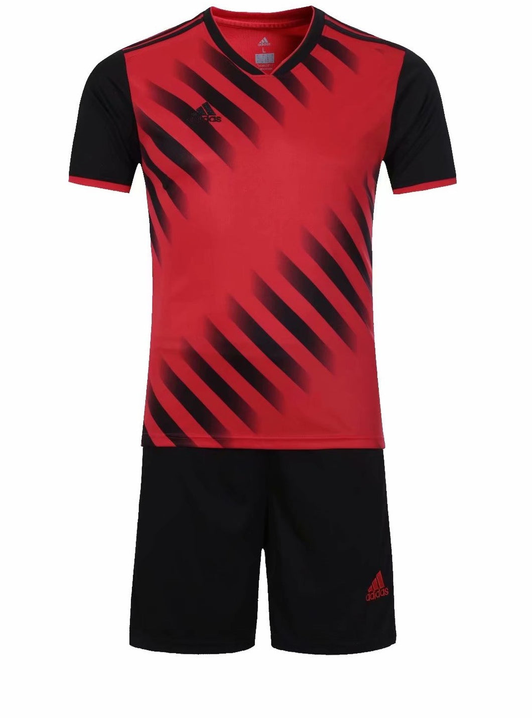 Adidas Full Football Kit Adult Sizes only - Red and Black with Faded stripe