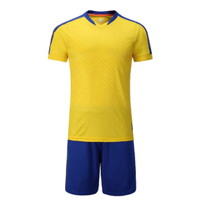 Full Football Kit - Yellow with Royal Blue Trim and Shorts.