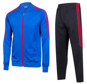Full Tracksuit -  Blue top and Black bottoms with Red Trim.