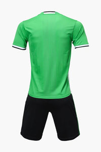 Adidas Full Football Kit Adult Sizes only - Green with 3 Stripes and Black shorts