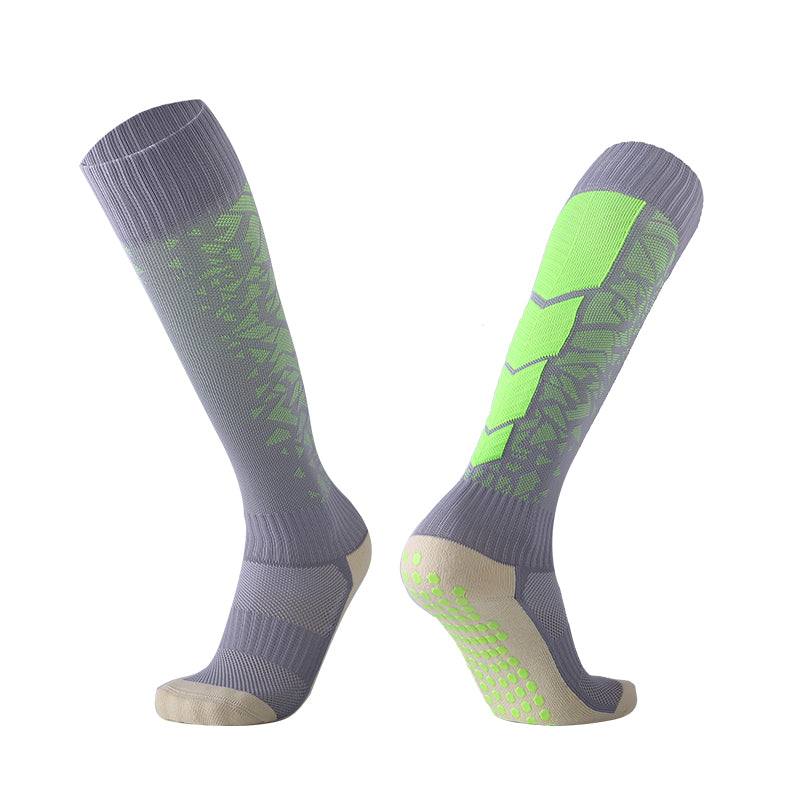 Socks Adult - Grey with Green back leg design