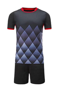 Full Football Kit - Black with White Diamond Design and Red trim.