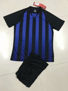 Full Football Kit - Black and blue top stripes with Black Shorts