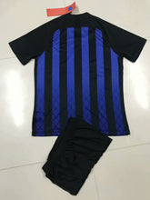 Load image into Gallery viewer, Full Football Kit - Black and blue top stripes with Black Shorts