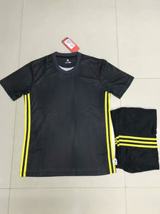 Full Football Kit - Black top and shorts with Yellow detail.