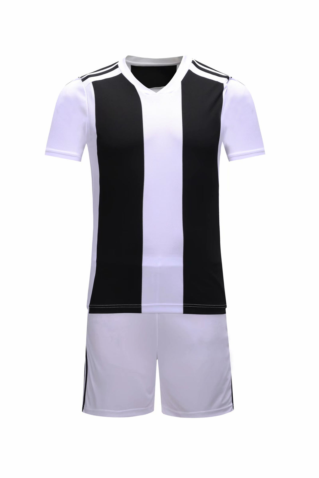 Full Football Kit - White and black stripes top and White shorts.