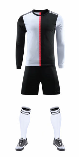 Full Football Kit - Black and white top with Black shorts
