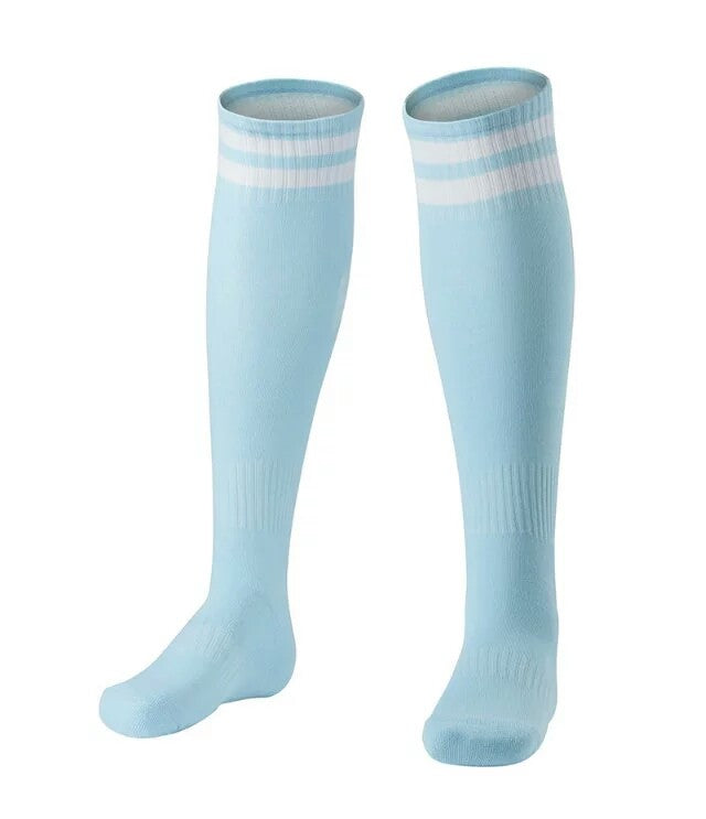 Socks Junior and Adult - Light Blue with two White lines