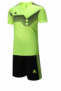 Adidas Full Football Kit Adult Sizes only - Lime green with black stripe.