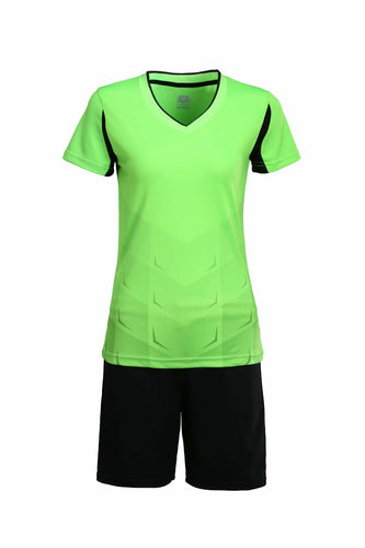 Full Football Kit - Green With Black Shorts.