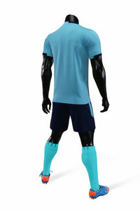 Junior Football Kit - Lime blue and Dark trim