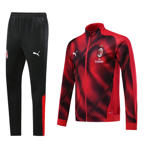 AC Milan Bespoke Marbled Red and Black Tracksuit Top & Bottom