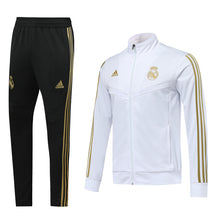 Load image into Gallery viewer, Real Madrid Bespoke Black and White Zip Tracksuit Top & Bottom