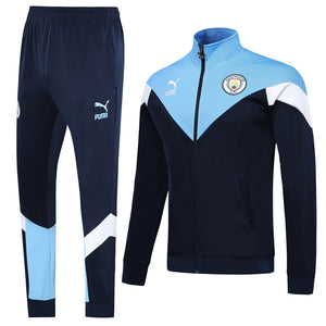 Manchester City Bespoke Retro Blue Tracksuit Top & Bottom