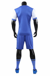 Full Football Kit - Mixed Blue with Side Stripe.