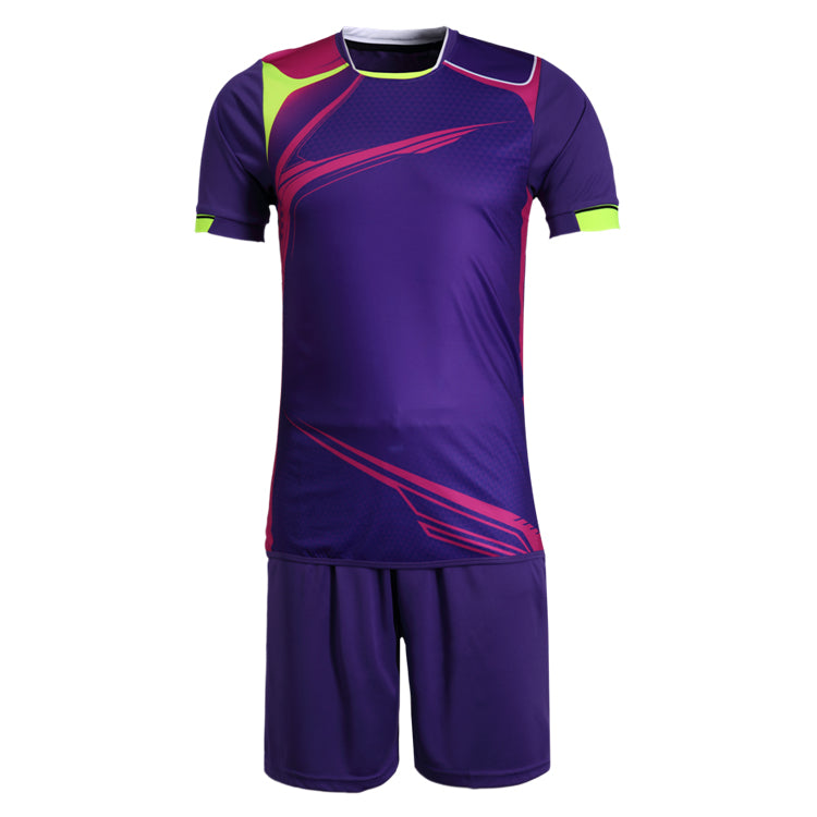 Full Football Kit - Colour Way Purple, Pink and Yellow with Purple Shorts.