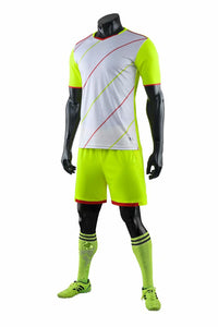 Full Football Kit - Neon Green and White with Thin Stripe Design.