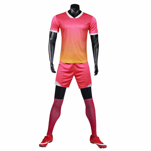 Full Football Kit - Pink Ombre with Yellow Detail.