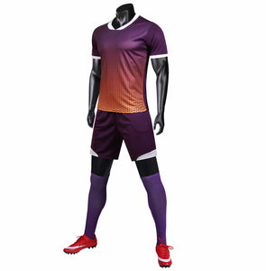 Full Football Kit - Purple Ombre with Orange Detail.
