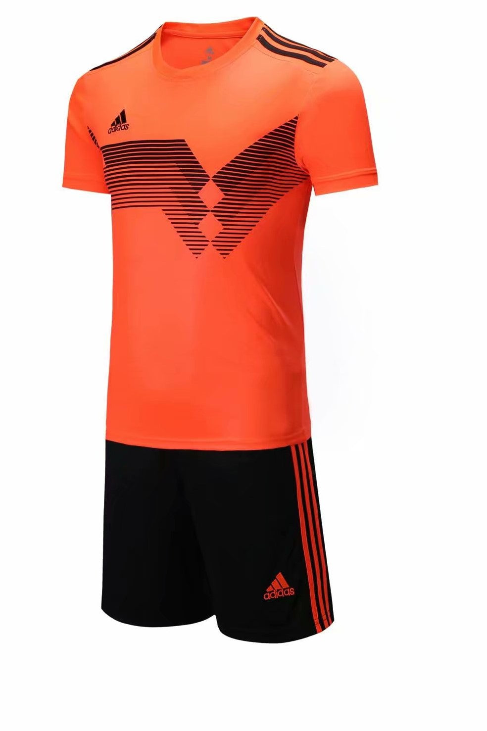 Adidas Full Football Kit Adult Sizes only - Orange with Black Stripe