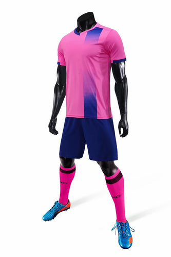 Junior Football Kit - Pink and Blue Stripe