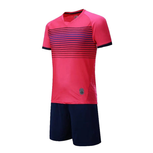 Junior Football Kit - Pink and blue/black stripes